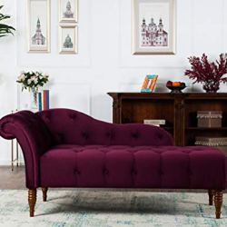 Jennifer Taylor Home Samuel Collection Traditional Hand Tufted Right Arm Facing Chaise Lounge, Burgundy
