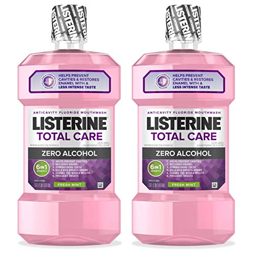 Listerine Total Care Alcohol-Free Anticavity Mouthwash, 6 Benefit Fluoride Mouthwash for Bad Breath and Enamel Strength, Fresh Mint Flavor, 1 L (Pack of 2)