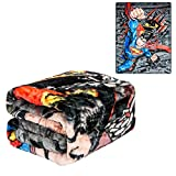 JPI DC Comics Superman Twin Plush Blanket - Superman Daily News - Officially Licensed - Super Soft & Thick - 60'' x 80'' - 100% Polyester