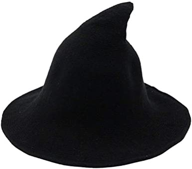 Amazon Com Gogolan Modern Witch Hat Wool Halloween Knit Cap Women Party Costume Black Clothing