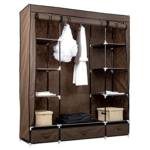 Buy TopHomer Canvas Wardrobe Clothes Cupboard Storage Shelf Shelves Organizer With Hanging Rails Rack And 3 Drawers Brown At Discounted Prices FREE
