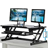 Standing Desk, Height Adjustable Stand Up Desk Gas Spring Riser Converter Sit to Stand Desk with Removable Keyboard Tray for Desktop Laptop Dual Monitor (32' Standing Desk)