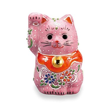 "Japanese drawn Ceramic Porcelain kutani ware. Fortune cat. Lucky cat. Beckoning cat. Pink."" Japanese ceramic Hagiyakiya 1401"