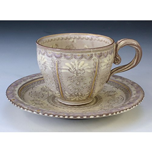 Kiyomizu-kyo yaki ware. Coffee teacup and saucer shisaikamon with paper box. Ceramic. kymz-CTS511