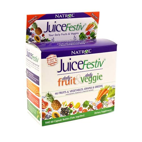 Natrol Juicefestiv Capsules, A Simpler Way to get Your Daily Fruits & Veggies, Also Contains SelenoExcell for Improved Metabolism, Boosts Energy and Well-Being, 60 Count (Pack of 2)