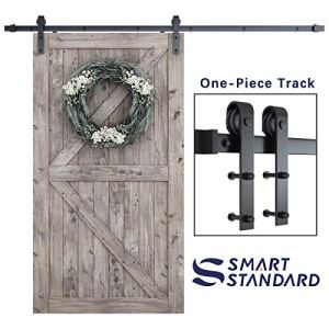SmartStandard 8 Foot One-Piece Track Sliding Barn Door Hardware Kit – Smoothly and Quietly – Easy to Install – Includes…