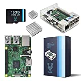 Raspberry Pi 3 Barebones Kit - Includes Raspberry PI 3-16GB Micro SD Card - Clear Case - Heatsink