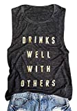 Women Drinks Well with Others Tank Top Summer Casual O Neck Sleeveless Shirt Top Size XL (Black)