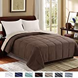 Homelike Moment Reversible Lightweight Comforter - All Season Down Alternative Comforter King Summer Duvet Insert Brown Quilted Bed Comforters with Corner Tabs King Size Chocolate Brown/Beige