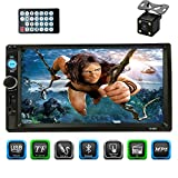 CACA 7' inch Double Din Touchscreen in Dash Stereo Car Receiver Audio Video Player Bluetooth FM Radio MP3 MP5/TF/USB/AUX,Remote Control,Rear View Camera
