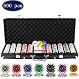 Display4top 500 Piece Texas Holdem Poker Chips Set with Aluminum Case,2 Decks of Cards, Dealer, Small Blind, Big Blind Buttons and 5 Dice (500 Poker Chips Case)