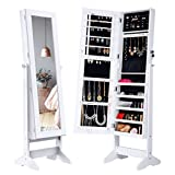 LANGRIA Lockable Jewelry Cabinet Standing Jewelry Armoire Organizer with Mirror, Full Length Standing Jewelry Storage, 4 Angle Adjustable, for Rings, Earrings, Bracelets, Broaches, White Finish