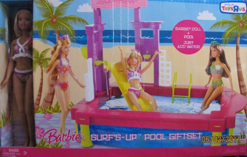 Barbie SURF'S UP POOL GIFTSET w BARBIE DOLL & Pool TOYS 'R US EXCLUSIVE (2007)