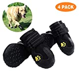 PG.KINWANG Dog Boots Waterproof Dog Shoes for Medium to Large Dogs with Reflective Velcro Rugged Anti-Slip Sole Pet Paw Protectors Labrador Husky Black 4 Pcs (Size 7: 3.1''x2.7'')