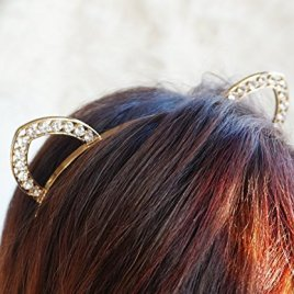 Gold Crystal Cat Ears Headband, Kitty Cat Ears Headband, Rave Cat Ears Headpiece