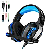 PS4 Gaming Headset   Xbox One Headset  Xbox One S Headset with Microphone VOTRON Over Ear Stereo Gaming Headphones with LED Light Noise Reduction for Xbox One PS4 PC Mac iPad PSP Headphones (blue)