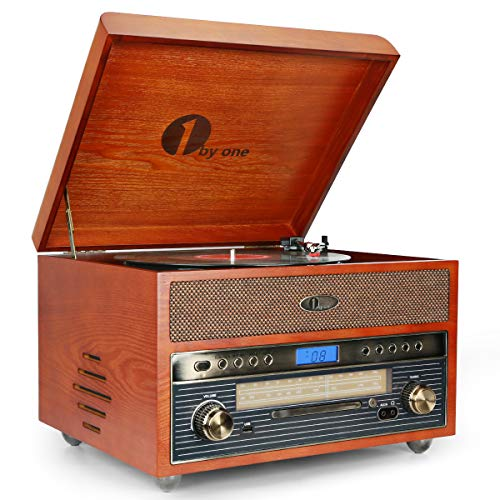 1byone Nostalgic Wooden Turntable Bluetooth Vinyl Record Player with AM/FM, CD, MP3 Recording to USB, AUX Input for Smartphones & Tablets and RCA Output