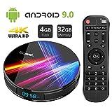 Android 9.0 TV Box 4GB RAM 32GB ROM, Bqeel R1 Pro Android TV Box RK3318 Quad-Core 64bits Dual-WiFi 2.4G/5.0G,3D Ultra HD HDMI 2.0 4K H.265 USB 3.0 BT 4.0 Smart TV Box