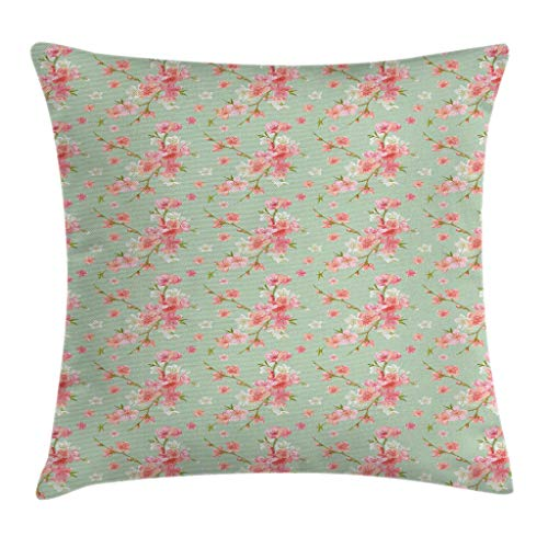 Ambesonne Shabby Chic Throw Pillow Cushion Cover, Retro Spring Blossom Flowers with French Garden Florets Garland Artisan Image, Decorative Square Accent Pillow Case, 18 X 18 Inches, Mint Pink