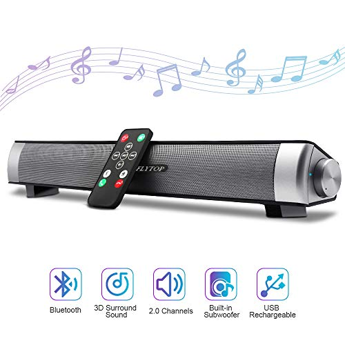 Bluetooth Sound Bar 15.7' Portable Wireless Speakers for Home Theater Surround Sound with Built-in Subwoofers for TV/PC/Phones/Tablets with Remote Control