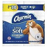 Charmin Ultra Soft Cushiony Touch Toilet Paper, 6 Family Mega Rolls = 30 Regular Rolls, Prime Pantry