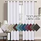 Linen Curtains 108 Inches Room Darkening Thermal Insulated Extra Long 108 Textured Linen Burlap White Curtain, Grommet Primitive Linen Curtain Drapes, 52 by 108 Inch - Pure White (1 Panel)