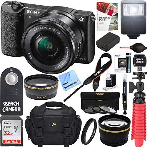 Sony Alpha a5100 HD 1080p Mirrorless Digital Camera Black + 16-50mm Lens Kit + 32GB Accessory Bundle + DSLR Photo Bag + Extra Battery + Wide Angle Lens + 2x Telephoto Lens + Flash + Remote + Tripod
