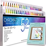 52 Watercolor Brush Pens, Tutorial Pad and Online Video Series by Chromatek. Real Brush Tip. Vivid. Smooth. Blendable. Long Lasting. Professional Artist Quality. 50 Colors 2 Blending Brushes.