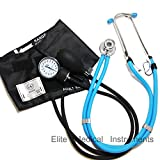 EMI EBE-340 Sprague Rappaport Stethoscope with Black Aneroid Sphygmomanometer Manual Blood Pressure Cuff Set (Baby Blue/Black)