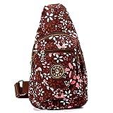 Women Sling Bags Outdoor Sport Crossbody Bag Multi Functional Sling Backpack Rucksack - Brown Flower