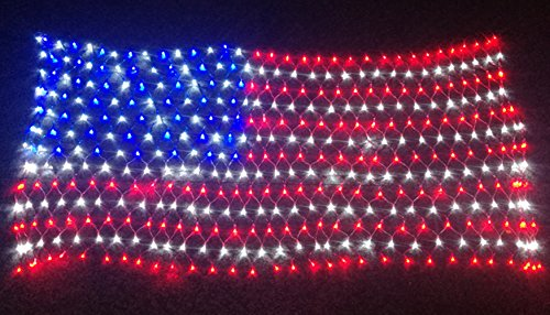 PYSICAL 6.5ft×3.2ft Led Flag Net Lights of The United States,for Festival,Holiday,Garden,Indoor Decoration