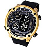 Men's Big Face Waterproof Watch for Swimming Digital Outdoor Sport Fitness Stopwatch (Black&Gold)