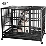 ITORI 48' Heavy Duty Metal Dog Cage Strong Kennel Crate and Playpen for Training Separation Anxiety Dog and Pet Indoor and Outdoor with Anti-Escape Locks&Double Doors Design Included Lockable Wheels
