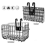 HOMEE Folding Rear Bike Basket - Wire Mesh Detachable Front Bag, Handlebar Basket Rear Hanging Bicycle Bag Cargo Rack for Mountain Bike Accessories Storage Frame 1 Pack