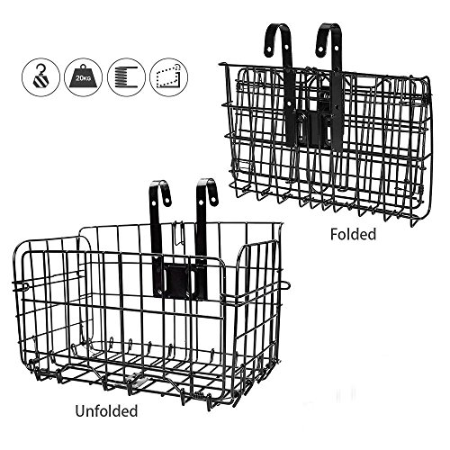 HOMEE Folding Rear Bike Basket - Wire Mesh Detachable Front Bag, Handlebar Basket Rear Hanging Bicycle Bag Cargo Rack for Mountain Bike Accessories Storage Frame 1 Pack Gift for Mother's Day