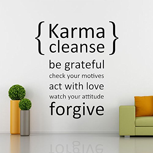 Karma Cleanse Be Grateful - Wall Quotes Stickers Vinyl Wall Decals - Phrase & Words & Letters (Brown, Large)
