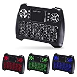 Backlit Wireless Mini Keyboard with Touchpad Mouse and Multimedia Keys, 2.4Ghz USB Rechargable Handheld Remote Control Keyboard for PC, HTPC, X-BOX, Android TV Box,Smart TV