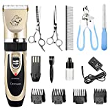 Ceenwes Dog Clippers Low Noise Pet Clippers Rechargeable Dog Trimmer Cordless Pet Grooming Tool Professional Dog Hair Trimmer with Comb Guides Scissors Nail Kits for Dogs Cats & Other Hairy Animals
