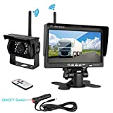 """podofo Wireless Waterproof Vehicle Backup Camera Kit 7"""" HD Car Rear View Monitor with IR Night Vision Back Up Camera Parking Assistance System for RV Truck Trailer Bus Camper Motorhome"""