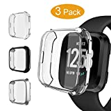 3 Packs Case Compatible Fit bit Versa, Pedfsy Soft Ultra Slim Full Cover [Scratch-Proof] Screen Protector Rugged Case for Fit bit Versa, Clear, Black, Silver