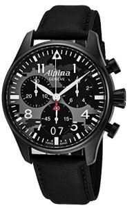 Alpina Startimer Pilot Chronograph Big Date Mens Black Stainless Steel Watch - Analog Camouflage Face with Sapphire Crystal Black Leather Band Swiss Quartz Chronograph Watches For Men AL-372BMLY4FBS6