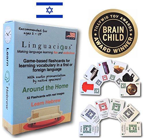 Award-Winning AROUND THE HOME HEBREW Flashcard Game - The ONLY One with Audio