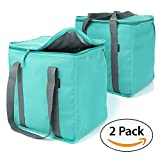 Urban House (2-Pack) Premium Grade Insulated Grocery Shopping Cooler Bag with Heavy Wall Insulation and Zipper Top Lid Keeps Food Cold or Hot, Large (13' W x 9' D x 13' H) 6.5 Gallon capacity