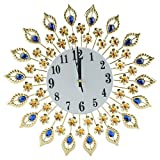Fdit Creative Iron European Style Modern Flower-Shaped Wall-Mounted Clock Diamond Hanging Wall Clock Home Office School