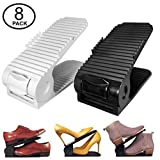 New Upgraded Adjustable Shoes Organizer | Best Quality Shoe Slots | Closet Storage Space Saver | Durable | Holds High Heels to Sneakers, For men, women and kid shoes (8 Pack in black)