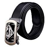 Automatic Buckle Genuine Leather Belt Men Accessories Casual Waist Belt Black110-130cm