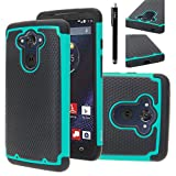 E LV Droid Turbo Case Cover - Dual Layer Hybrid Armor Defender Protective Case Cover for Motorola Moto Droid Turbo XT 1254 with 1 Stylus - Teal