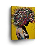 African American Wall Art Afro Hair Woman Splash Style Canvas Print Yellow Decor Oil PaintHome Décor Wall Decoration Artwork Wrapped Framed Ready to to Hang -%100 Handmade in The USA - 12x8