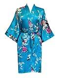 Old Shanghai Women's Kimono Short Robe - Peacock & Blossoms (Turquoise)