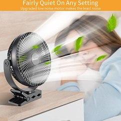 Clip-On-Fan-10000mAh-Portable-Fan-for-Baby-Stroller-8-Inch-Stroller-FanUp-to-24H-of-Use-USB-Fan-4-Speed-Fast-Cooling-Outdoor-Fan-Battery-Operated-Fan-for-Bedroom-Office-Camping-Black-Blade